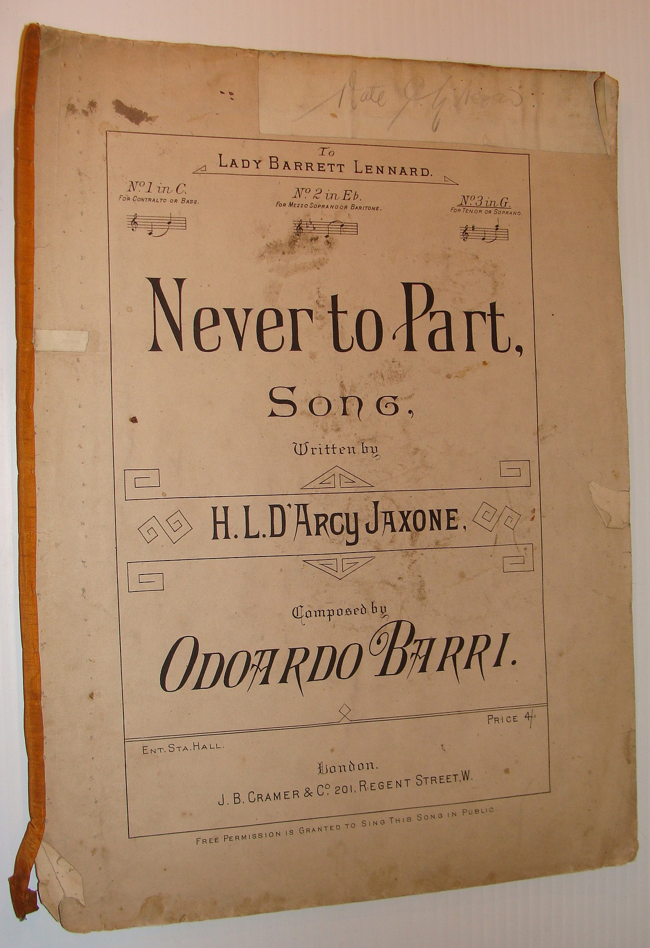 Image for Never To Part: Sheet Music for Piano and Voice