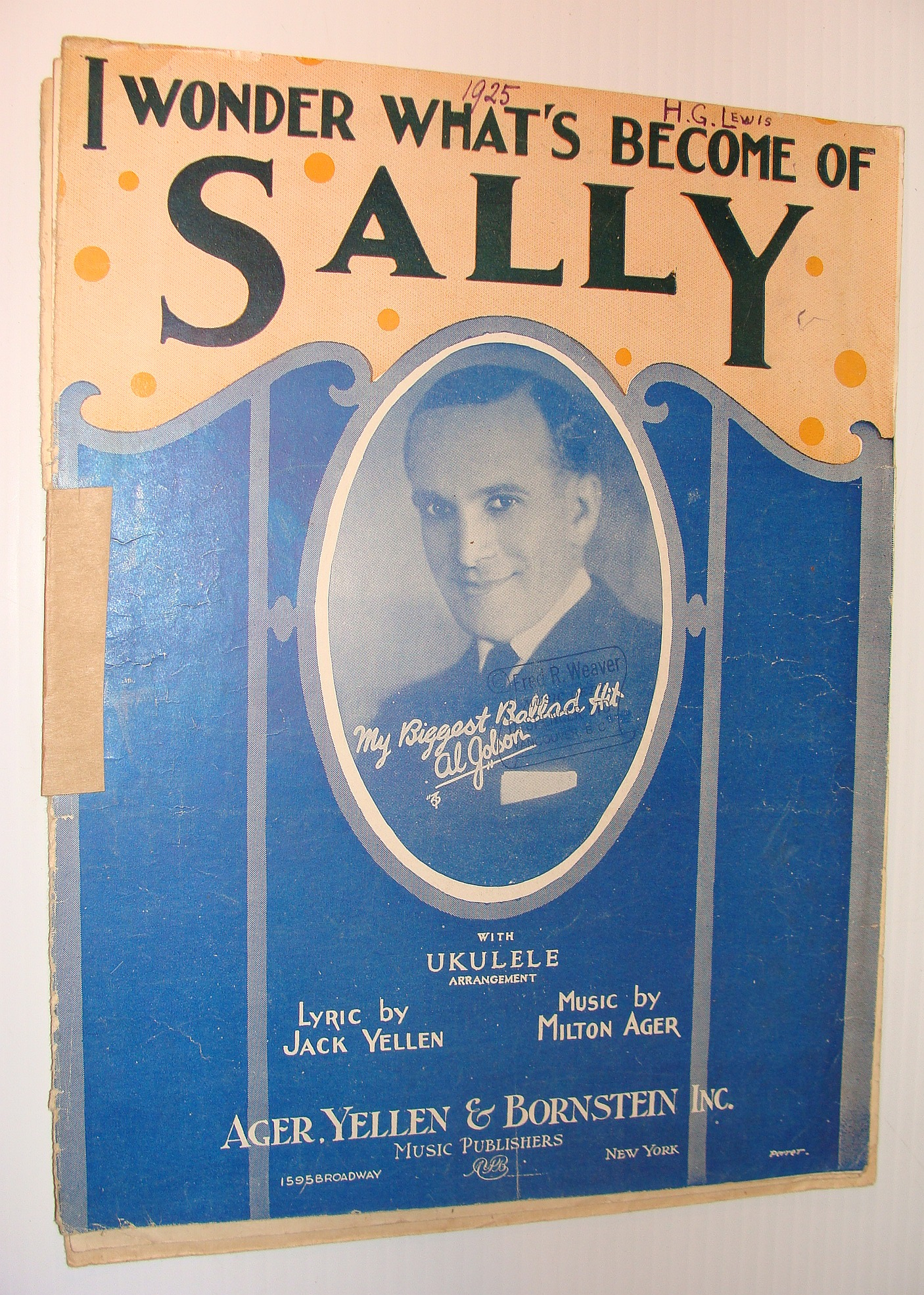 I Wonder What's Become of Sally? - Sheet Music with Ukulele Arrangement, Ager, Milton; Yellen, Jack