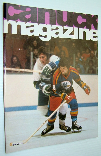 Image for Vancouver Canuck Magazine, November 5, 1974 - Colour Cover Photo of Bob Dailey Checking a Kansas City Scout