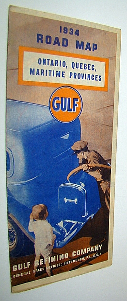 Official Gulf 1934 Road Map of Ontario, Quebec, Maritime Provinces, Rand McNally & Co.
