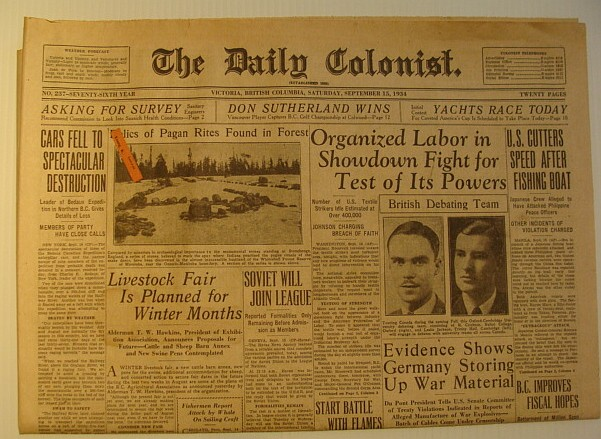 The Daily Colonist, Saturday September 15, 1934, Victoria, British Columbia Newspaper, Multiple Contributors