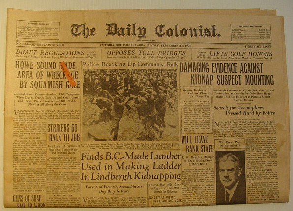 The Daily Colonist, Sunday September 23, 1934, Victoria, British Columbia Newspaper, Multiple Contributors