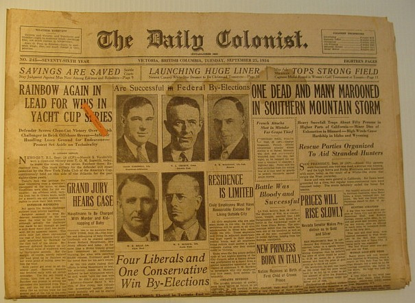 The Daily Colonist, Tuesday September 25, 1934, Victoria, British Columbia Newspaper, Multiple Contributors