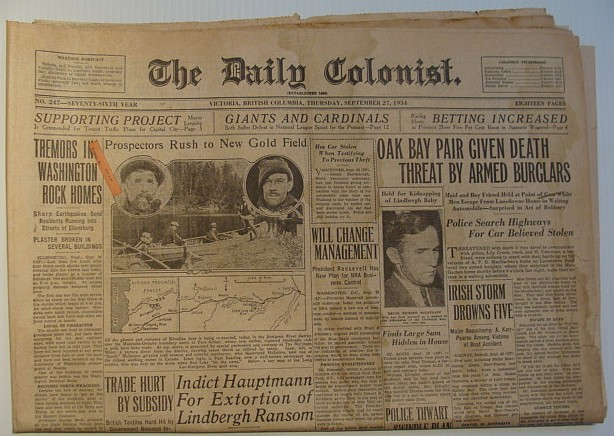 The Daily Colonist, Thursday September 27, 1934, Victoria, British Columbia Newspaper, Multiple Contributors
