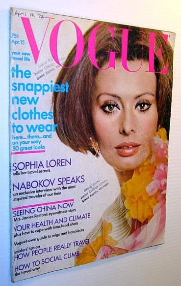 Vogue Magazine (US), April 15 1972 - Sophia Loren Cover Photo, Multiple Contributors