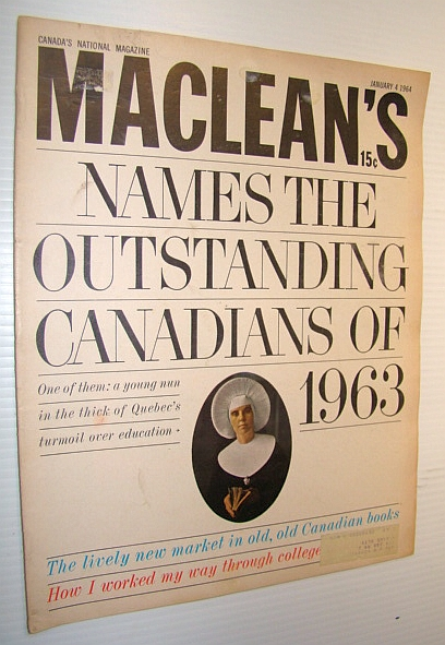 Image for Maclean's, Canada's National Magazine, January 4, 1964 - The Outstanding Canadians of 1963 / Douglas Duncan - The Man Who Discovered Canadain Painting