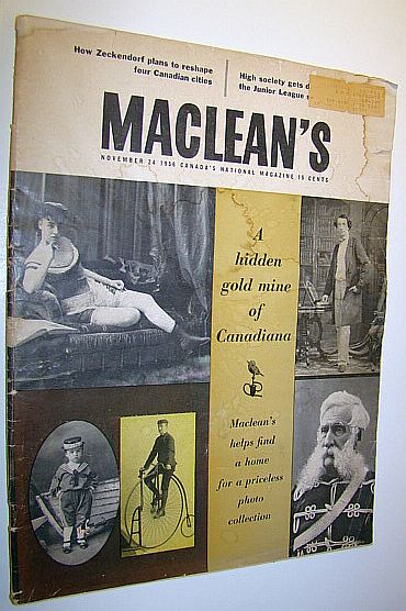 Image for Maclean's, Canada's National Magazine, November 24, 1956 - Priceless William Notman Canadian Photo Collection / Zeckendorf's Plans for Four Canadian Cities / How Percy Williams Swept the Olympic Sprints