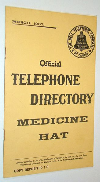 Image for Official Telephone Directory, Medicine Hat, March 1907