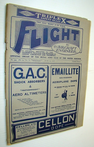 Flight (Magazine) And The Aircraft Engineer, June 13, 1918, Spooner, Stanley (Editor); De Bazillac, Louis ; Benn, Ernest J.P.