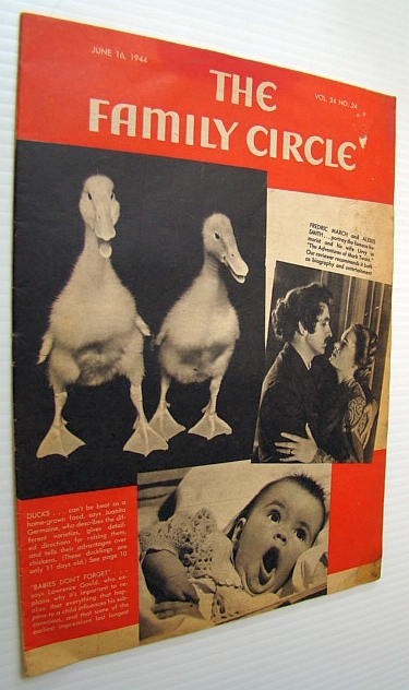 Image for The Family Circle Magazine, June 16, 1944, Vol. 24, No. 24 - Cover Photo of Fredric March and Alexis Smith