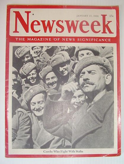 Newsweek Magazine, January 17, 1944 *COVER PHOTO OF CZECHS WHO FIGHT WITH STALIN*, Multiple Contributors