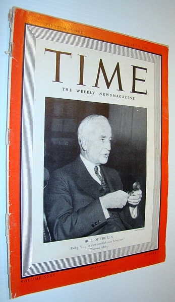 Time Magazine, January 8, 1940 - Cordell Hull Cover Photo, Multiple Contributors
