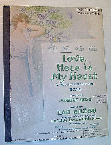 ROSS, ADRIAN; SILESU, LAO - Love, Here is My Heart (Mon Coeur Est Pour Toi): Sheet Music for Voice and Piano