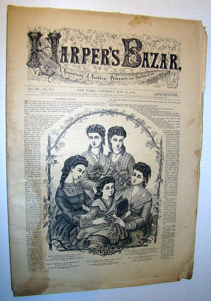 Image for Harper's Bazar (Bazaar) Magazine, May 21, 1870 - A Repository of Fashion, Pleasure, and Instruction