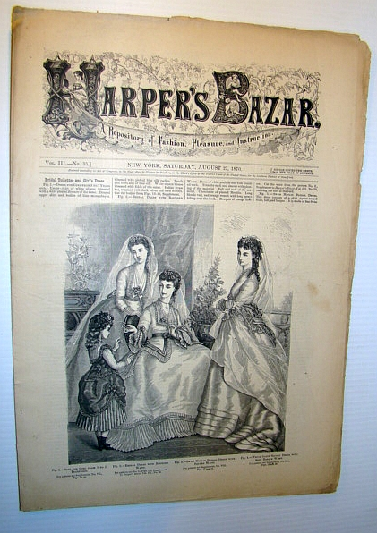 Image for Harper's Bazar (Bazaar) Magazine, August 27, 1870 - A Repository of Fashion, Pleasure, and Instruction