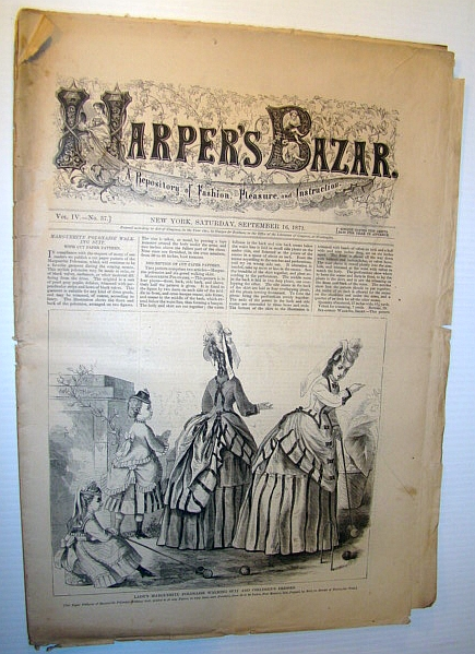 Image for Harper's Bazar (Bazaar) Magazine, September 16, 1871 - A Repository of Fashion, Pleasure, and Instruction