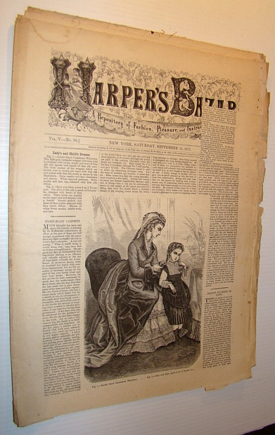 Image for Harper's Bazar (Bazaar) Magazine, September 21, 1872 - A Repository of Fashion, Pleasure, and Instruction
