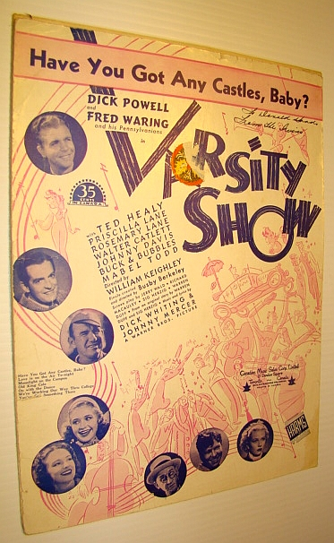"""Image for Have You Got Any Castles, Baby? - Sheet Music for Voice and Piano with Guitar Chords for the Song from the Movie """"Varsity Show"""""""