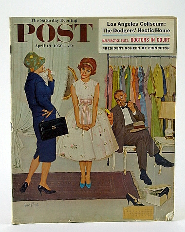 The Saturday Evening Post,, April (Apr.) 18, 1959 -  Los Angeles Coliseum / D Day - Establishing a Beachhead, Horgan, Paul; Sercombe, R.; Kersh, G.; McNeil, S.; Martin, H.; Mumford, L.; Durslag, M.; Silverman, M.; Fisher, G.; Howarth, D.; Cross, J.; Coo, W.