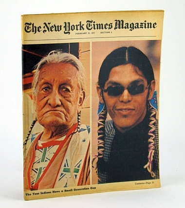 The New York Times Magazine, February (Feb.) 21, 1971 -  Taos Indian Cover Photo / Singer James Taylor, Lukas, J. Anthony; Cornwell, John; Griffith, Winthrop; Braudy, Susan; Hitchcock, James; Crenshaw, Mary Ann; Greenhouse, Linda; Claiborne, Craig; Skurka, Norma
