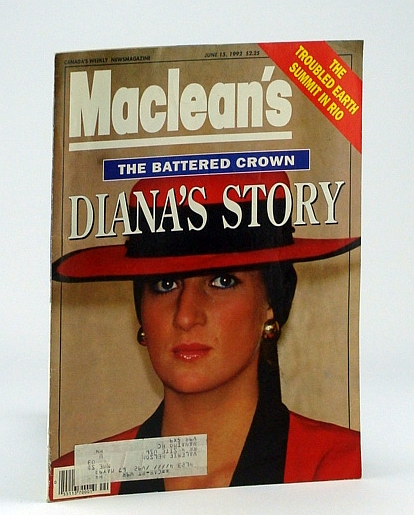 Maclean's - Canada's Weekly News Magazine, June 15, 1992 - Cover Photo of Diana, Princess of Wales, Amiel, B.; Newman, P.C.; MacLeod, S.; Et al