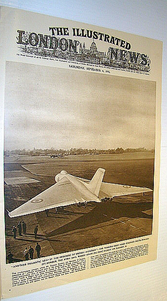 The Illustrated London News (ILN), September 6, 1952 -  Awesome Cover Photo of an Avro A698 on Runway - The World's First Four-Engined Delta-Winged Jet Bomber, Bryant, Arthur; Squire, Sir John; Falls, Cyril;