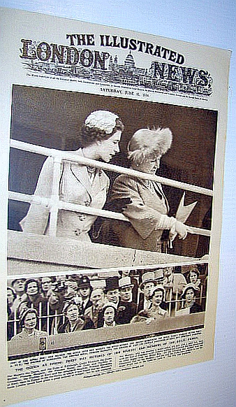 The Illustrated London News (ILN) Magazine, June 12 1954 -  Cover Photo of the Queen at Epsom, Bryant, Arthur; Squire, Sir John; Falls, Cyril