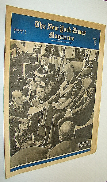 Image for The New York Times Magazine, February 7, 1943 - Cover Photo of Roosevelt (FDR) and Winston Churchill at Casablanca Press Conference