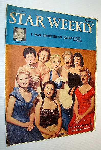 (Toronto) Star Weekly, January 4 1958 - Gorgeous Cover Photo Includes Gloria Lambert, Peggi Loder, Juliette, Sylvia Murphy, Joyce Hahn, Corinee Conley, Joan Fairfax and Joyce Sullivan, Authors Not Stated