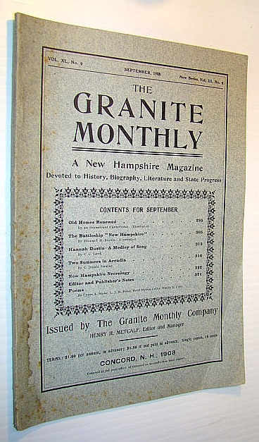 "Image for The Granite Monthly - A New Hampshire Magazine Devoted to History, Biography, Literature and State Progress, September, 1908, Vol XL, No. 9, New Series, Vol. III, No. 9 - The Battleship ""New Hampshire"""
