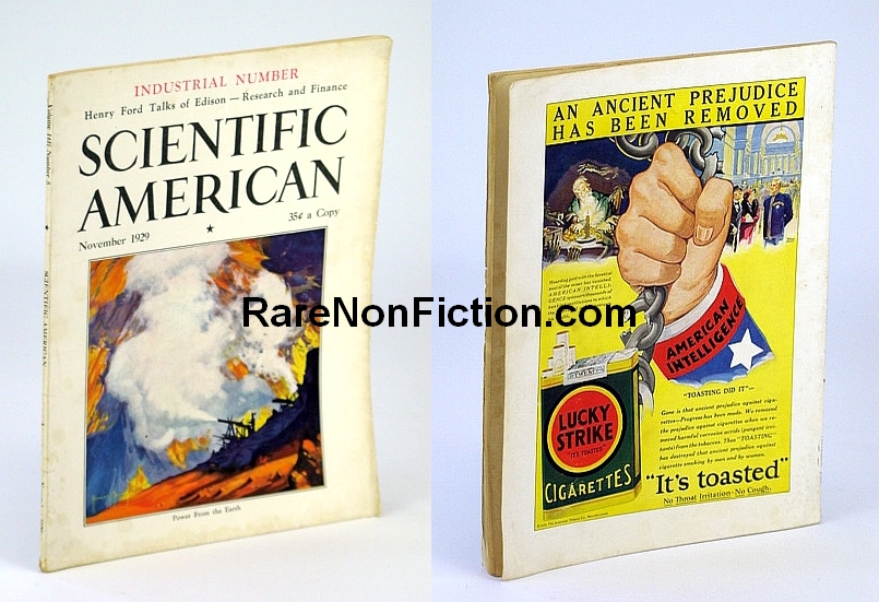 Scientific American November (Nov.) 1929 Volume 141 Number 5  - Featuring Timeless Great Depression Advertising Fail, Munn, Orson D.: Editor