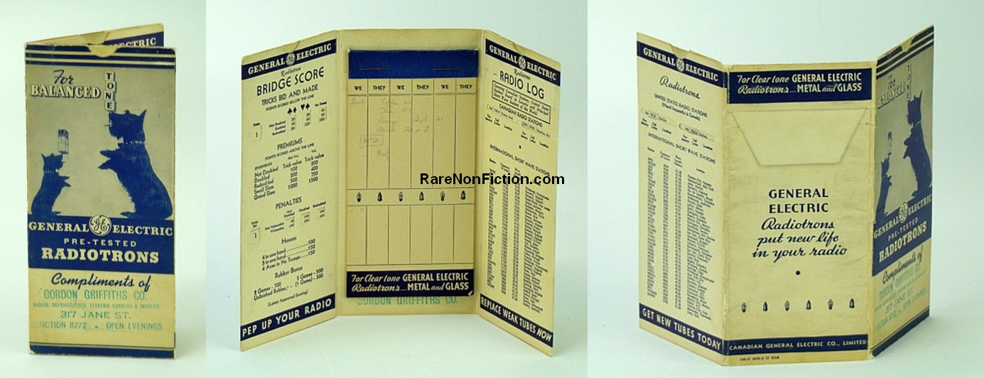 General Electric Radiotron Tube Promotional Fold-out Bridge Score, Canadian, United States, and Principal World Short Wave Radio Station Reference (146-37 50M-8/37 ROB, Canadian General Electric Co., Limited (C.G.E.)