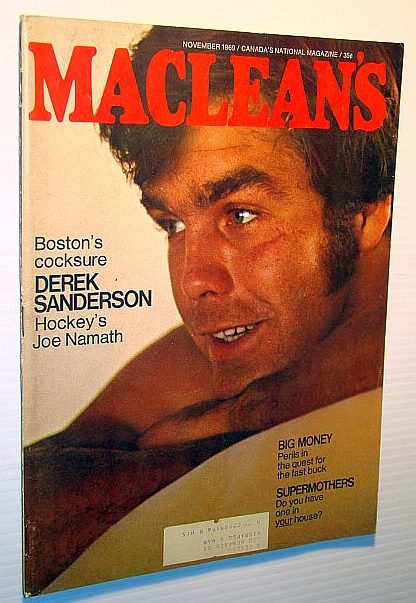 "Image for Maclean's - Canada's National Magazine, November 1969: Cover Photo of the Boston Bruins' ""Cocksure Derek Sanderson"""