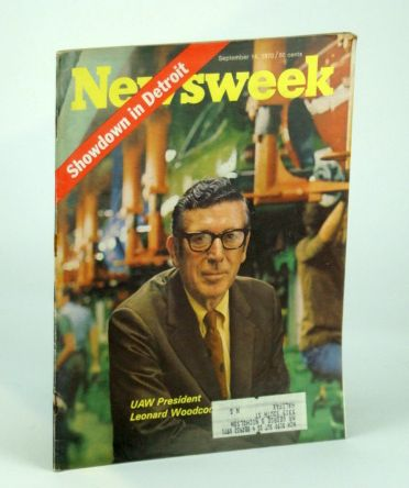 Newsweek Magazine, September (Sept.) 14, 1970 - UAW President Leonard Woodcock Cover Photo, Multiple Contributors; Samuelson, Paul A.