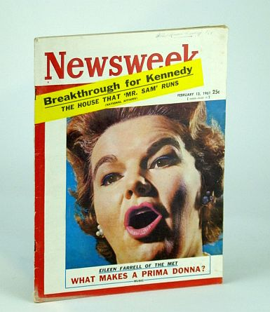 Newsweek Magazine, February (Feb.) 13, 1961 - Eileen Farrell Cover Photo, Multiple Contributors Including Henry Hazlitt
