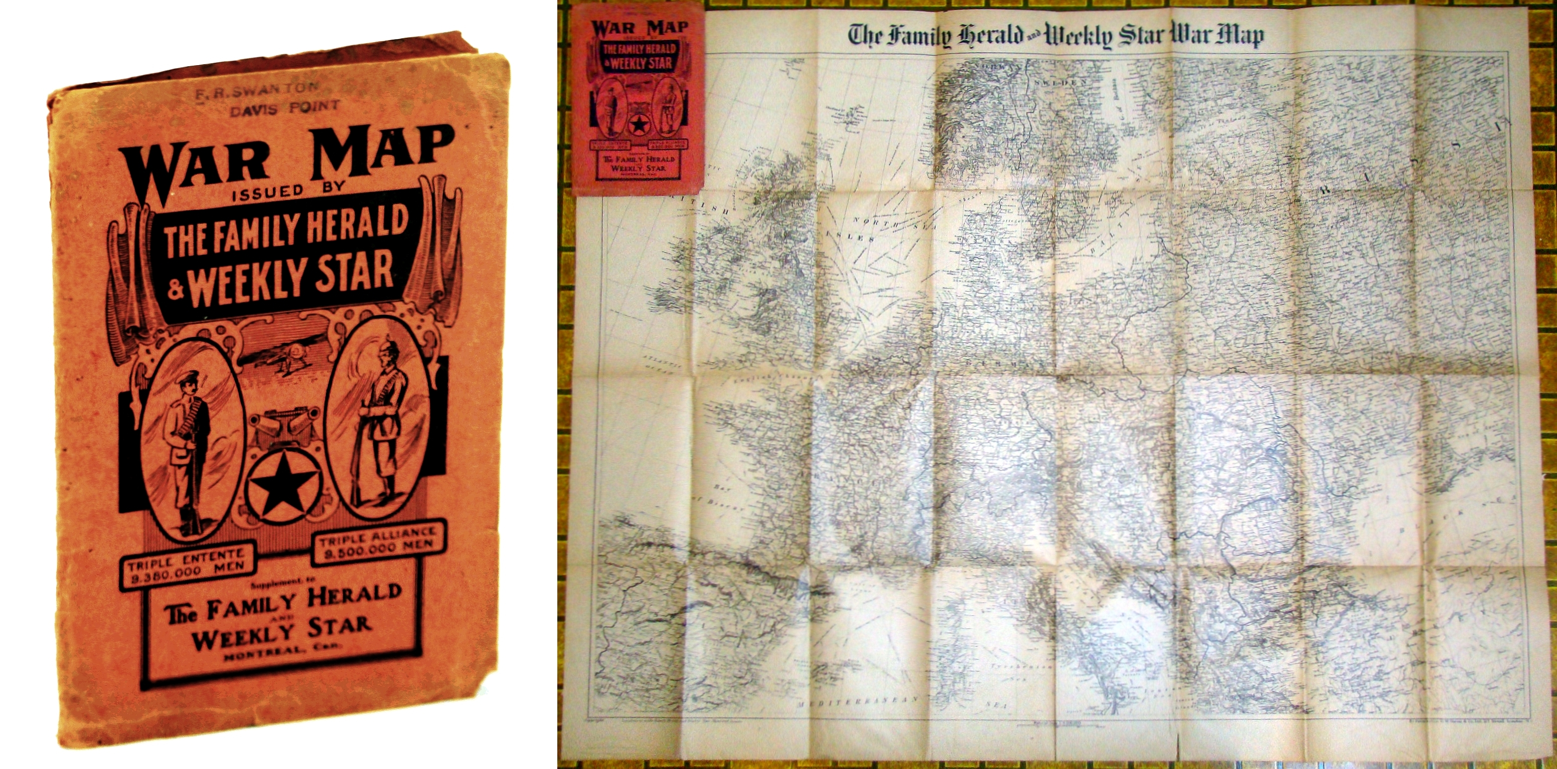 [WWI] War Map Issued By The Family Herald & Weekly Star