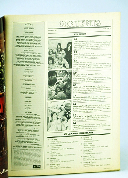 Vancouver Magazine, December (Dec.) 1978, Voll. 11, No. 12 - B.C. Rockers / B.C. Truck Logging History, Collier, Nick; White, Howard and Frank; Haines, Judith; Trower, Peter; et al
