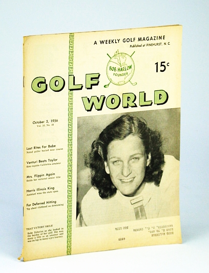 Image for Golf World - A Weekly Golf Magazine, 5 October (Oct.), 1956, Vol. 10, No. 18 - Cover Photo of Babe Zaharias