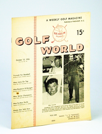 Image for Golf World - A Weekly Golf Magazine, 12 October (Oct.), 1956, Vol. 10, No. 19 - Cover Photos of George Bayer, Mike Souchak and Bob Rosburg