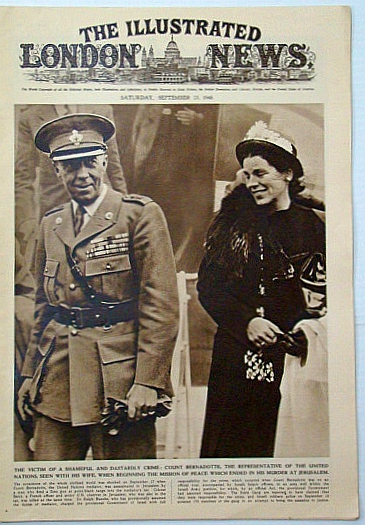 The Illustrated London News, Saturday, September (Sept.) 25, 1948: United Nations mediator Count Bernadotte Assassinated in Jerusalem, Bryant, Arthur; Squire, Sir John; Falls, Cyril; et al