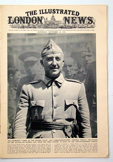 The Illustrated London News, November (Nov.)14, 1936: Gen. Franco Cover Photo Portrait, Bryant, Arthur; et al