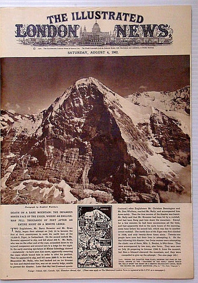 The Illustrated London News, August (Aug.) 4, 1962 - Barry Brewster Dies Climbing the North Face of Eiger, Bryant, Arthur; Falls, Cyril; et al