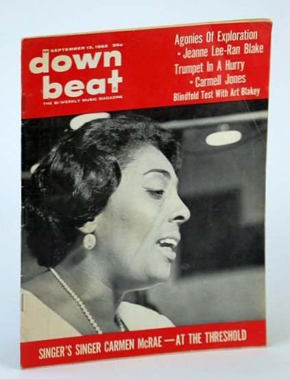 Image for Down Beat - The Bi-Weekly Music Magazine, September (Sept.) 13, 1962, Vol. 29, No. 24 - Carmen McRae Cover Photo