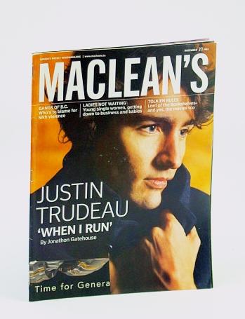 Maclean's, Canada's Weekly Newsmagazine, December (Dec.) 23, 2002 - Justin Trudeau Cover Photo, Gatehouse, Jonathon; et al