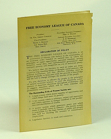 Image for Free Economy League of Canada Informational Leaflet