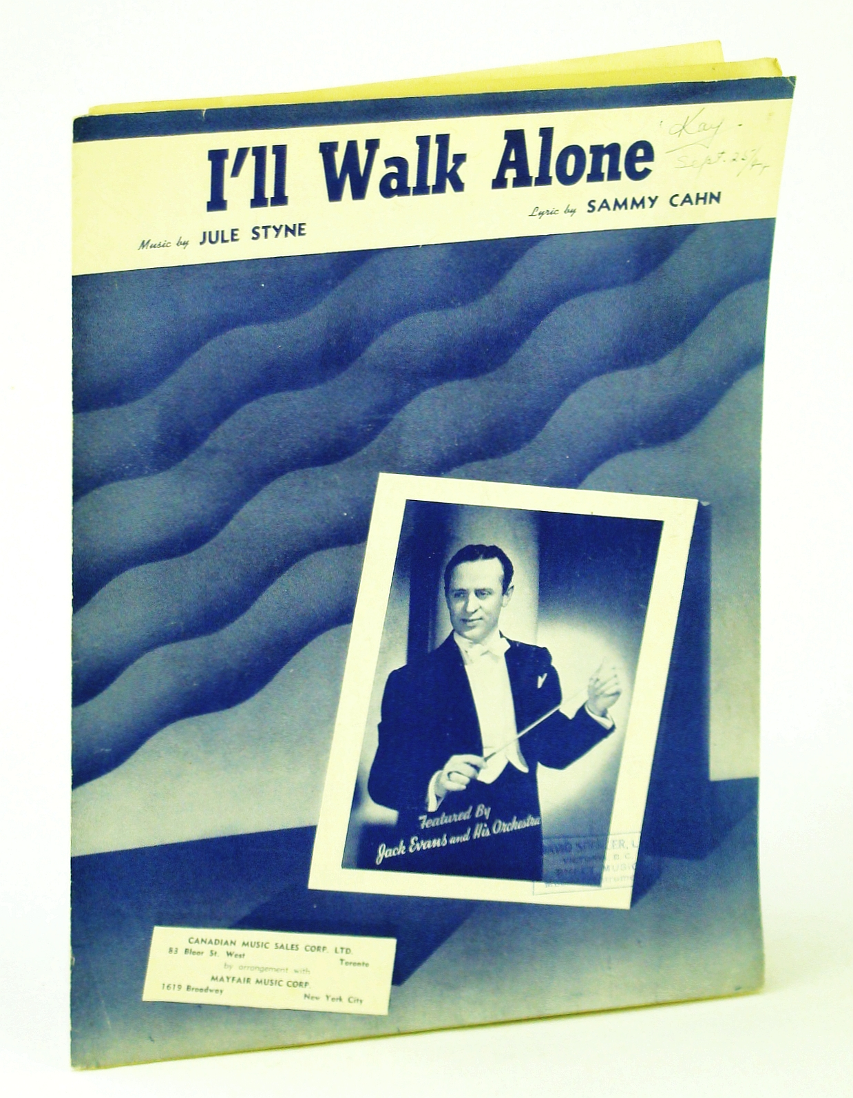 Image for I'll Walk Alone - Vintage Sheet Music Jack Evans & His Orchestra Cover