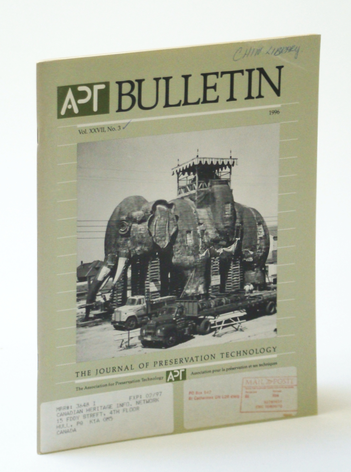 Image for APT Bulletin - The Journal of Preservation Technology, Vol. XXVII, No. 3, 1996 - Museums in Historic Buildings