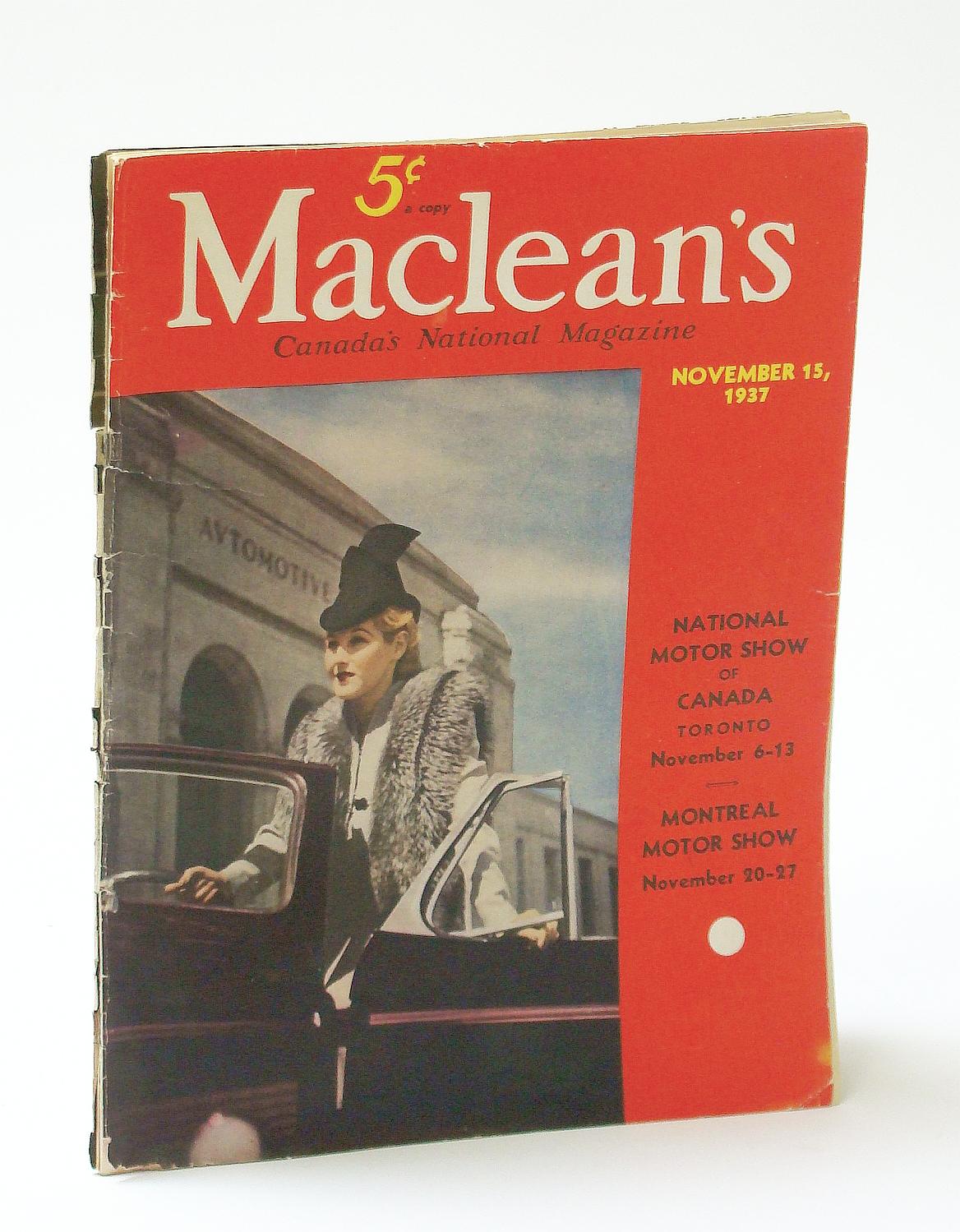 Image for Maclean's, Canada's National Magazine, November (Nov.) 15, 1937 - Motor Shows in Toronto and Montreal / N.H.L. President Frank Calder