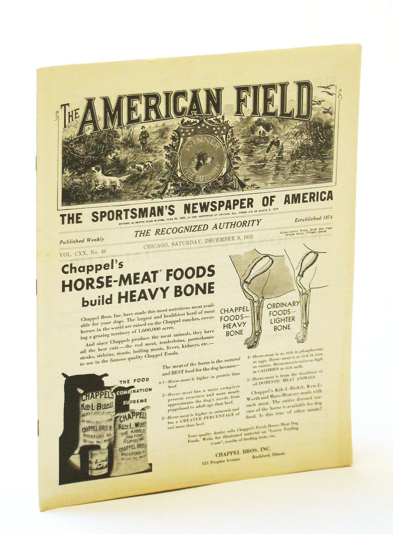 Image for The American Field - The Sportsman's Newspaper [Magazine] of America, December [Dec.) 9, 1933, Vol. CXX, No. 49 - National and Southland Clubs' Trials / A Buffalo Hunt Sixty Years Ago