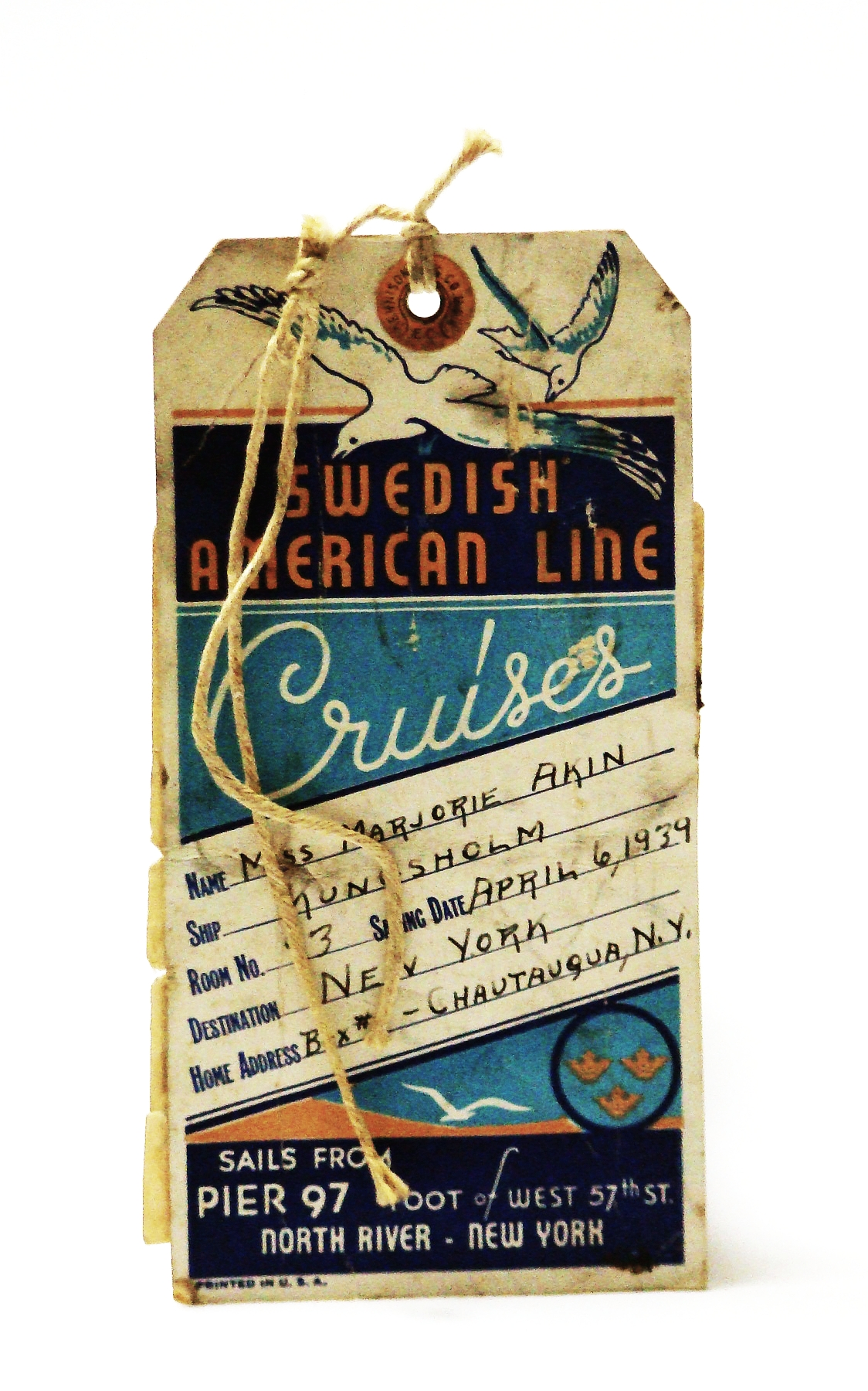 Image for Swedish American Line 1939 Baggage Tag - Used on the MS Kungsholm Enroute to New York City